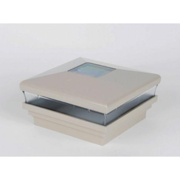 """LMT-1480KK 3.625"""" Sq. Neptune Solar LED Lighted Vinyl Post Cap - Khaki"""