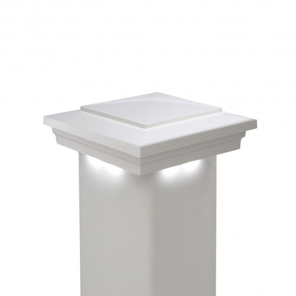 Cape May Downward Low Voltage Post Cap by LMT (White 5K Model Shown)