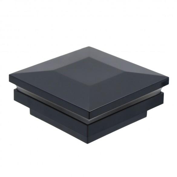 """2 1/2"""" Sq. Ornamental Low Voltage Combo Post Cap - 1763B - Black"""