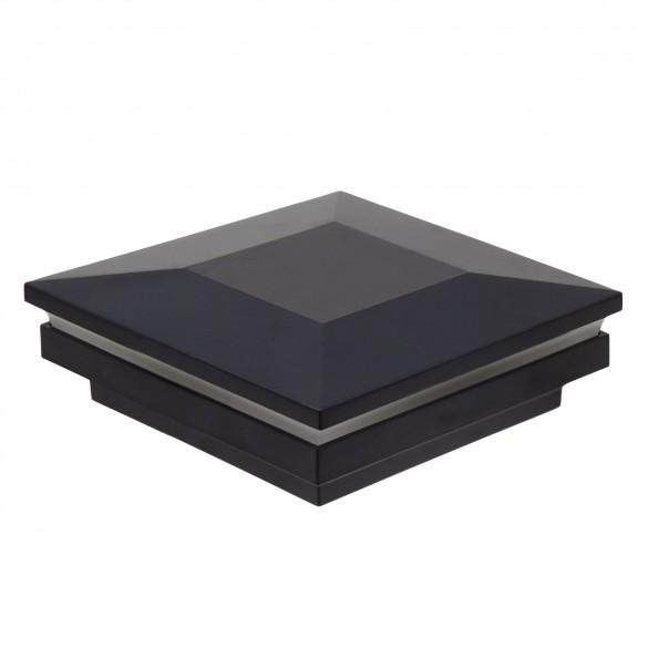 """3 1/2"""" Sq. Ornamental Low Voltage Combo Post Cap - 1765B-5K -Black"""