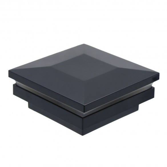 """4 1/4"""" Sq. Ornamental Low Voltage Combo Post Cap For AZEK/TimberTech® Post Sleeves - LMT 1796 (Low Gloss Black Shown For Example)"""