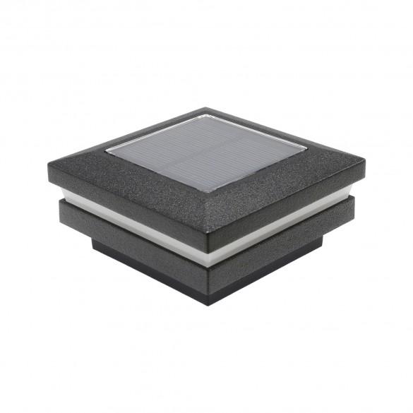 "LMT 1820TB 2.5"" Sq. Ornamental Solar LED Lighted Vinyl Post Cap - Textured Black"