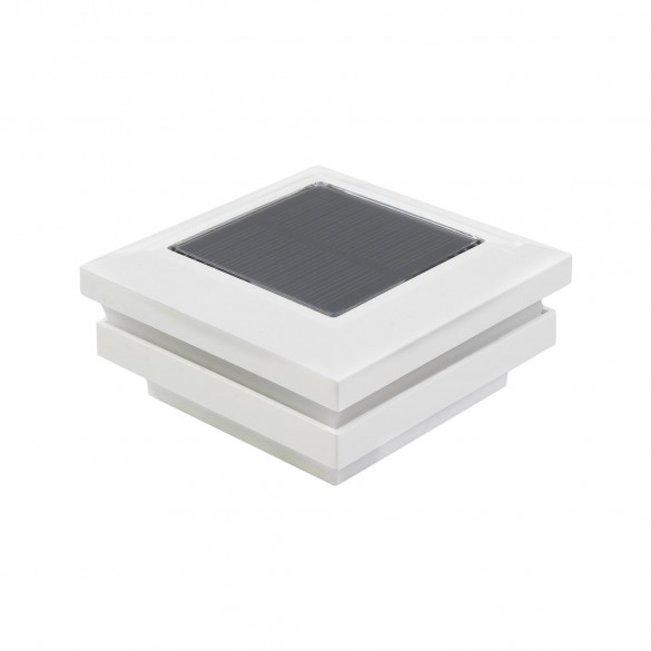 "2.5"" Sq. Ornamental Solar Post Cap - 1820W - White"