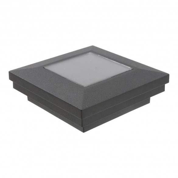 "3"" Sq. Ornamental Downward Solar Lighted Post Cap - 1825TB - Textured Black"
