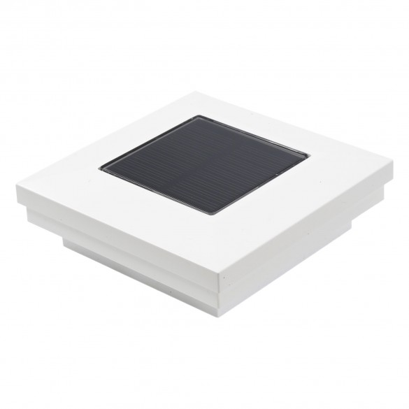 """LMT 3"""" Sq. Ornamental Downward Solar LED Lighted Vinyl Post Cap - White"""