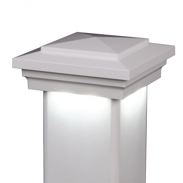 "5"" Sq. Cape May Downward Low Voltage LED Lighted Post Cap - Hammertone Black LMT-1647HB-3K (White Shown As Example)"