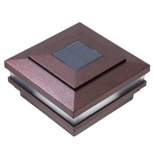 """LMT 4"""" Sq. Cape May Solar LED Lighted Vinyl Post Cap - Antique Copper"""
