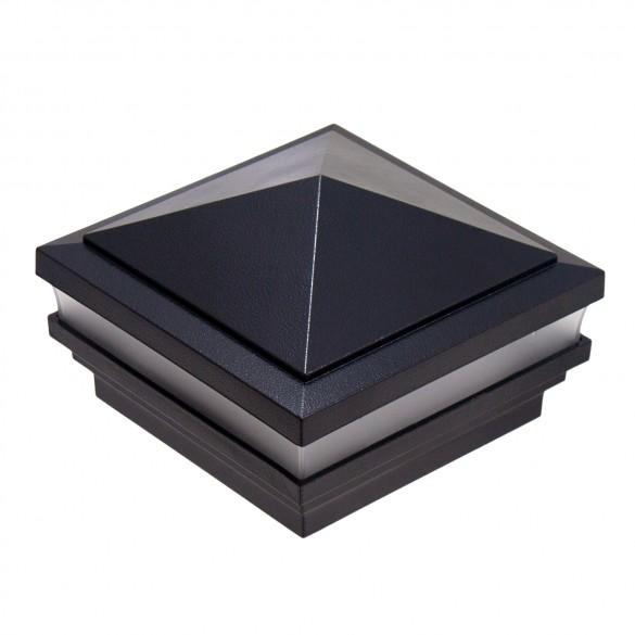 """3.625"""" Sq. Haven Low Voltage LED Lighted Post Cap - Hammertone Black LMT-1488-LED-HB-3K"""