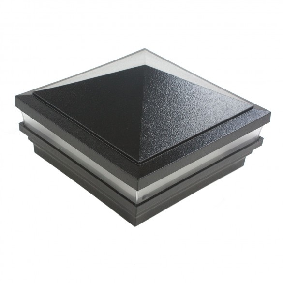 "5"" Sq. Haven Low Voltage LED Lighted Post Cap - Hammertone Black"