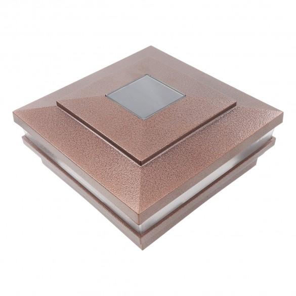 """LMT 5.625"""" Sq. Cape May Solar LED Lighted Vinyl Post Cap (Antique Copper) - LMT-1518AC"""