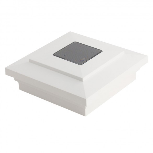 4X4 Cape May Downward Solar Post Cap - White