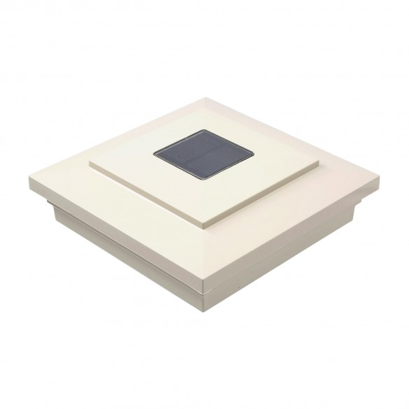 "LMT-1641NA 5"" Sq. Cape May Downward Solar LED Lighted Vinyl Post Cap - Almond"