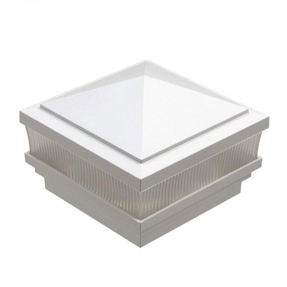 "4"" Sq. Haven Scallop Lens Low Voltage LED Lighted Post Cap - White LMT-1661W-3K"