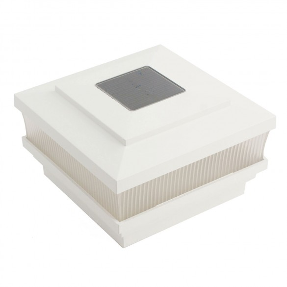 """4"""" Sq. Cape May Scallop Lens Solar Post Cap - White LMT-1665W"""