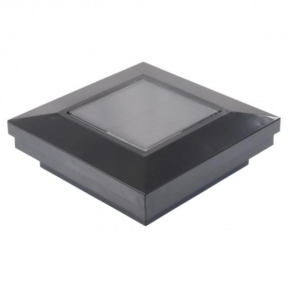 "3"" Sq. Ornamental Downward Solar Lighted Post Cap - 1825BLK - Black"