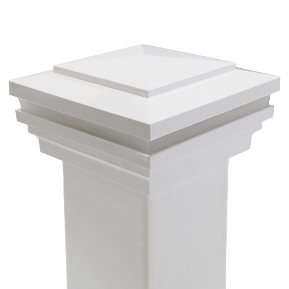 """4"""" Sq. Cape May Halo Low Voltage LED Lighted Post Cap - White LMT-1839-LED-W-3K (Installation Shown)"""