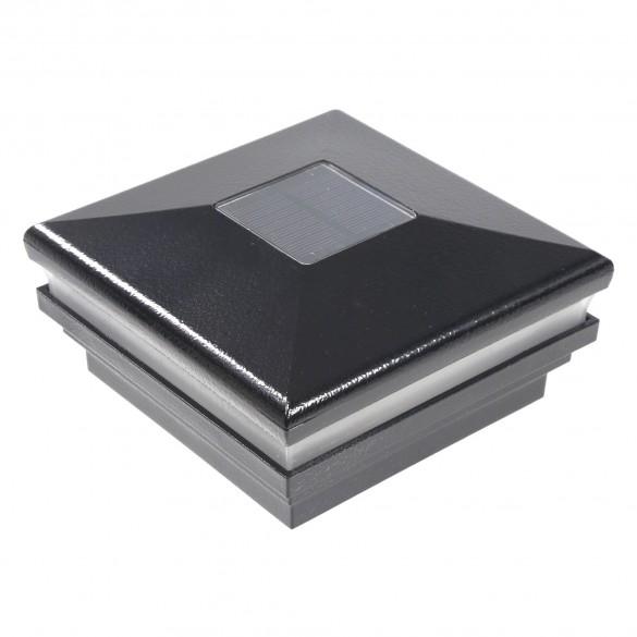 """LMT-1850HB 3.625"""" Sq. Neptune Halo Solar LED Lighted Vinyl Post Cap - Hammertone Black"""