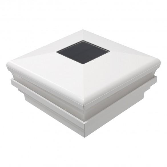 """LMT 3.625"""" Sq. Neptune Halo Solar LED Lighted Vinyl Post Cap - White"""