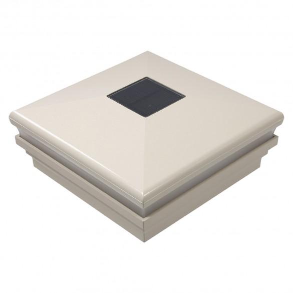 """LMT-1853NA 5"""" Sq. Neptune Halo Solar LED Lighted Vinyl Post Cap - Almond"""