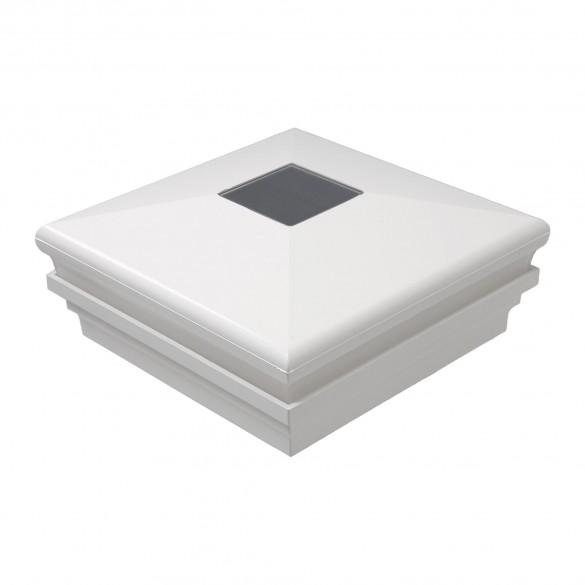 """LMT-1854W 5.625"""" Sq. Neptune Halo Solar LED Lighted Vinyl Post Cap - White"""