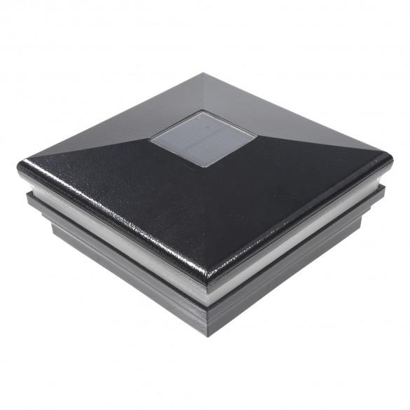 """LMT-1855HB 6"""" Sq. Neptune Halo Solar LED Lighted Vinyl Post Cap - Hammertone Black"""