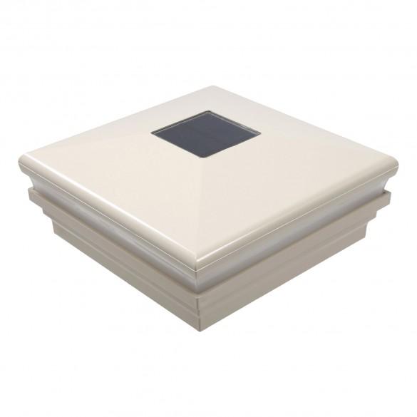 """LMT-1855NA 6"""" Sq. Neptune Halo Solar LED Lighted Vinyl Post Cap - Almond"""