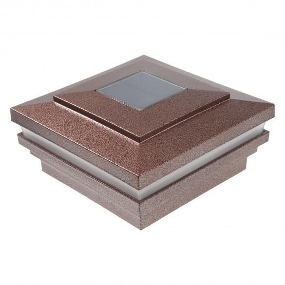 "LMT-1856AC 3.625"" Sq. Cape May Halo Solar LED Lighted Vinyl Post Cap - Antique Copper"