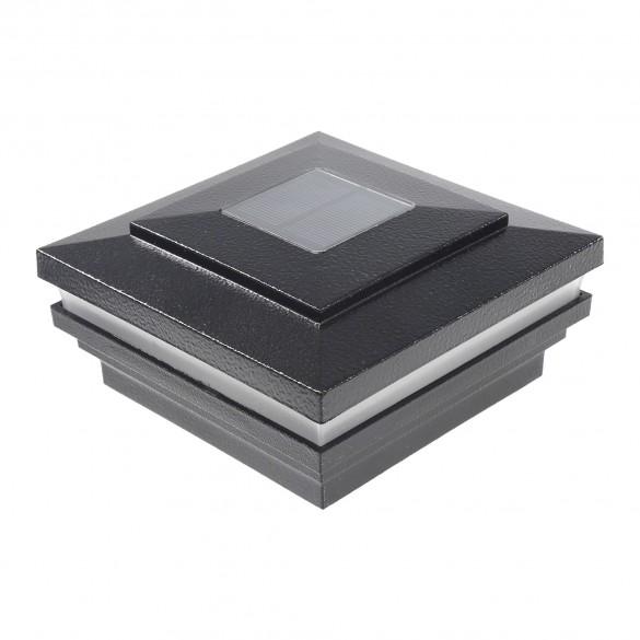 "LMT-1856HB 3.625"" Sq. Cape May Halo Solar LED Lighted Vinyl Post Cap - Hammertone Black"