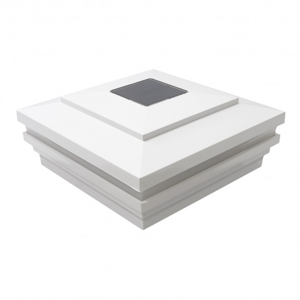 """6"""" Sq. Cape May Halo Solar Lighted Post Cap - White LMT-1861W"""