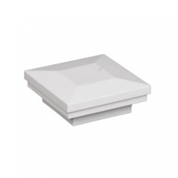 """2 1/2"""" Sq. Ornamental Downward Low Voltage Post Cap (White Shown)"""
