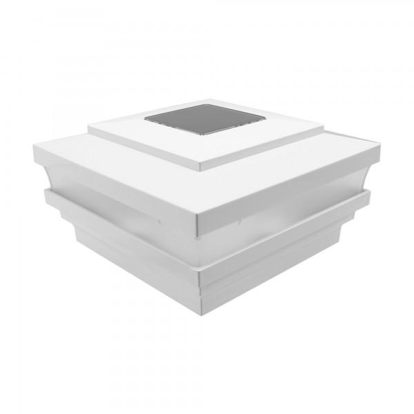 "LMT-1562W 4.5"" Sq. Cape May Solar LED Lighted Vinyl Post Cap - White"
