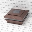 """LMT-1856AC 3.625"""" Sq. Cape May Halo Solar LED Lighted Vinyl Post Cap - Antique Copper (Grid Shown For Scale)"""